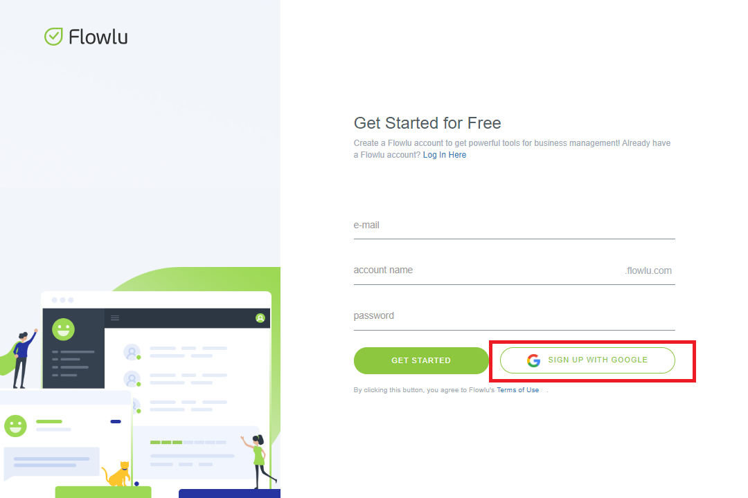 How to Sign Up With Google - Flowlu Help Center