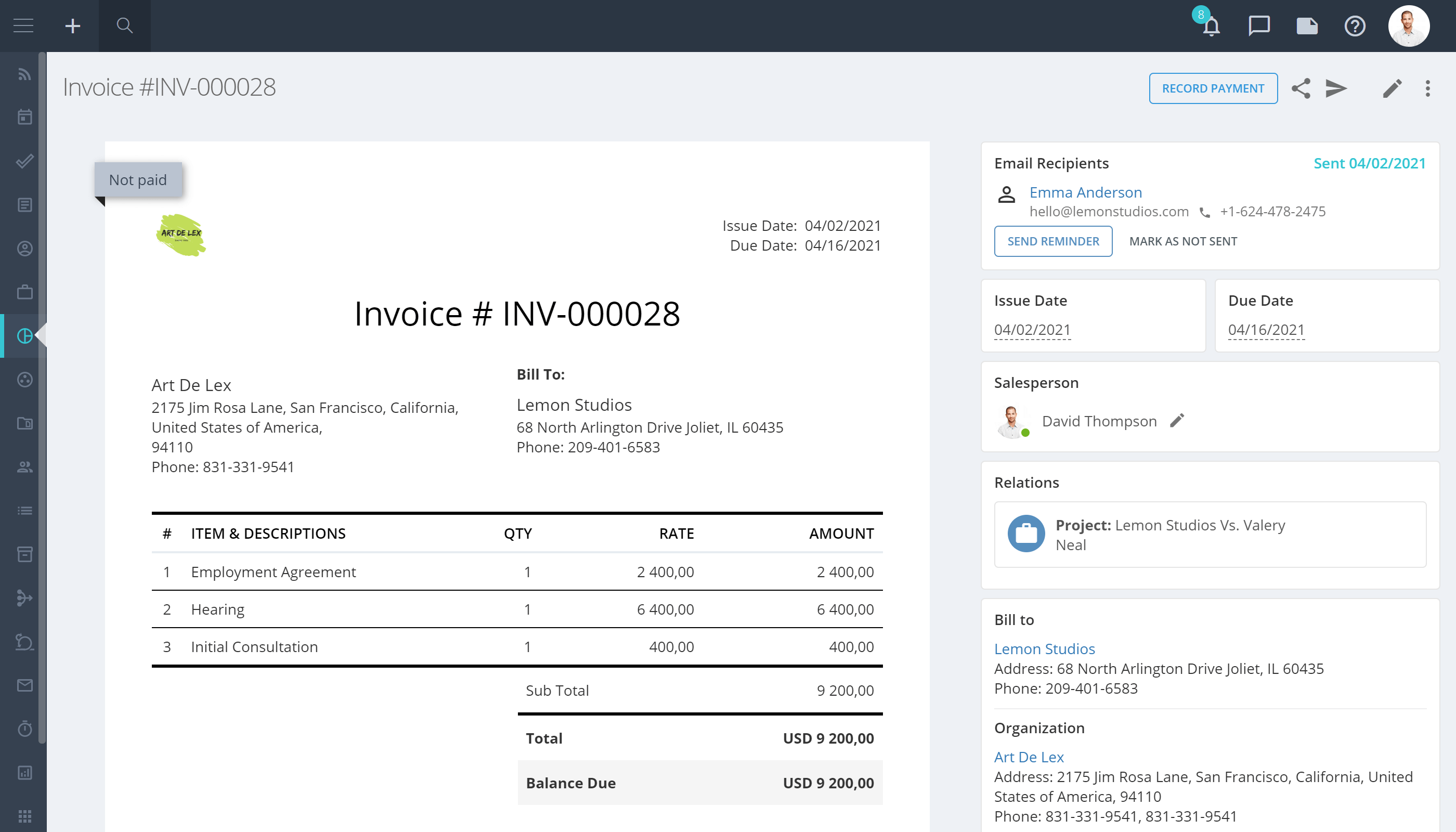 Flowlu Time Tracking and Invoicing