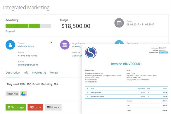 Invoices Through The CRM
